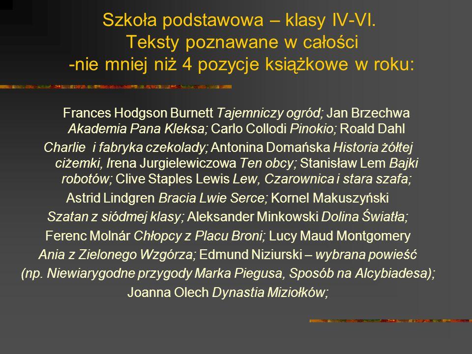 Szkoła podstawowa – ciąg dalszy: Joanna Onichimowska – wybrana powieść (np.