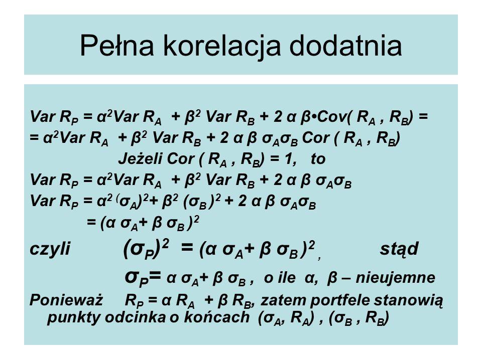 Pełna korelacja dodatnia Var R P = α 2 Var R A + β 2 Var R B + 2 α βCov( R A, R B ) = = α 2 Var R A + β 2 Var R B + 2 α β σ A σ B Cor ( R A, R B ) Jeżeli Cor ( R A, R B ) = 1, to Var R P = α 2 Var R A + β 2 Var R B + 2 α β σ A σ B Var R P = α 2 ( σ A ) 2 + β 2 (σ B ) 2 + 2 α β σ A σ B = (α σ A + β σ B ) 2 czyli (σ P ) 2 = (α σ A + β σ B ) 2, stąd σ P = α σ A + β σ B, o ile α, β – nieujemne Ponieważ R P = α R A + β R B, zatem portfele stanowią punkty odcinka o końcach (σ A, R A ), (σ B, R B )