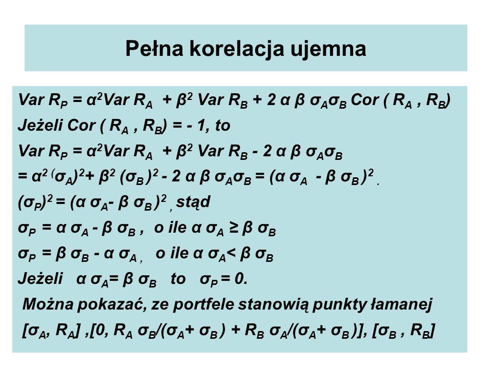 Pełna korelacja ujemna Var R P = α 2 Var R A + β 2 Var R B + 2 α β σ A σ B Cor ( R A, R B ) Jeżeli Cor ( R A, R B ) = - 1, to Var R P = α 2 Var R A + β 2 Var R B - 2 α β σ A σ B = α 2 ( σ A ) 2 + β 2 (σ B ) 2 - 2 α β σ A σ B = (α σ A - β σ B ) 2.