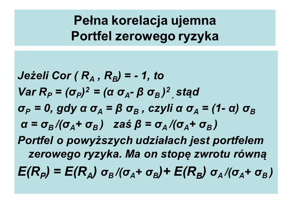 Pełna korelacja ujemna Portfel zerowego ryzyka Jeżeli Cor ( R A, R B ) = - 1, to Var R P = (σ P ) 2 = (α σ A - β σ B ) 2, stąd σ P = 0, gdy α σ A = β σ B, czyli α σ A = (1- α) σ B α = σ B /(σ A + σ B ) zaś β = σ A /(σ A + σ B ) Portfel o powyższych udziałach jest portfelem zerowego ryzyka.