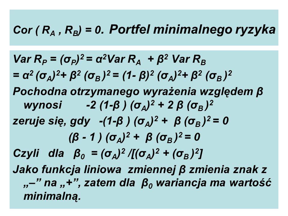 Cor ( R A, R B ) = 0.