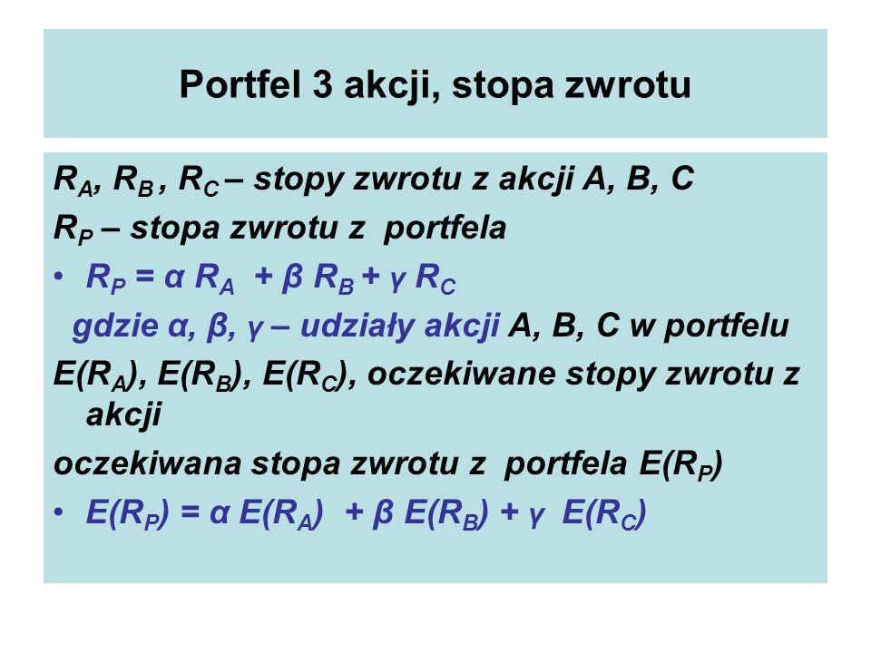 Portfel 3 akcji, stopa zwrotu R A, R B, R C – stopy zwrotu z akcji A, B, C R P – stopa zwrotu z portfela R P = α R A + β R B + γ R C gdzie α, β, γ – udziały akcji A, B, C w portfelu E(R A ), E(R B ), E(R C ), oczekiwane stopy zwrotu z akcji oczekiwana stopa zwrotu z portfela E(R P ) E(R P ) = α E(R A ) + β E(R B ) + γ E(R C )