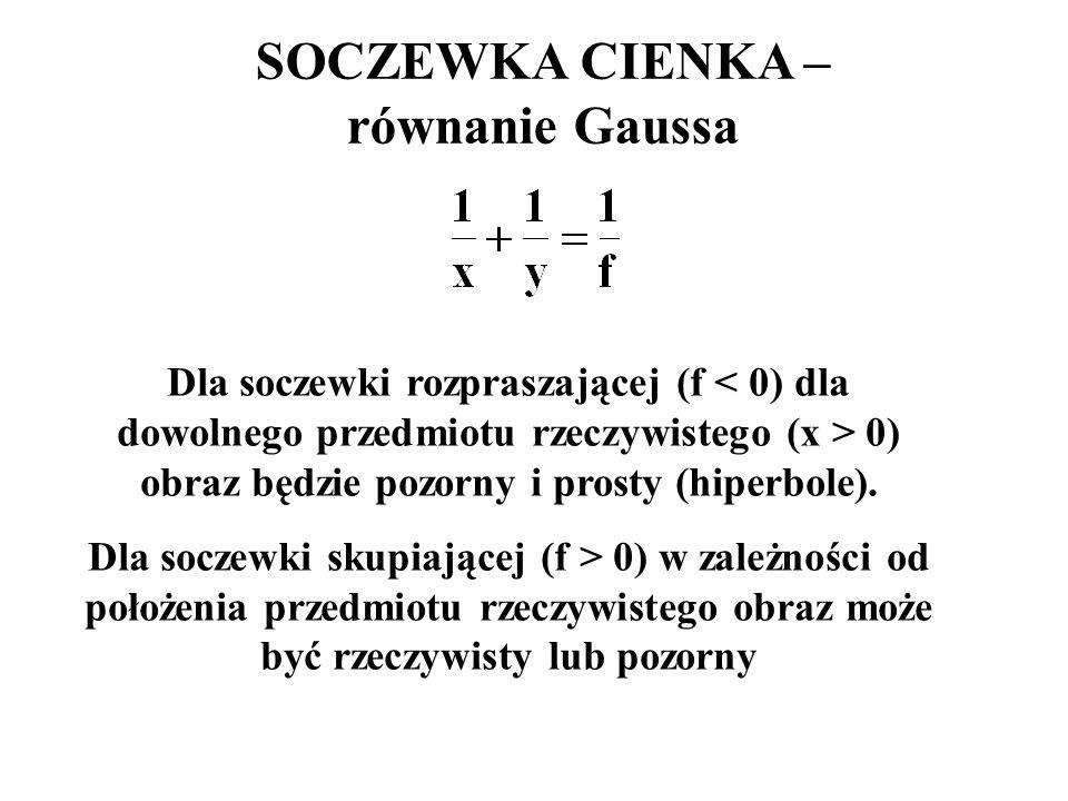 SOCZEWKA CIENKA – równanie Gaussa Dla soczewki rozpraszającej (f 0) obraz będzie pozorny i prosty (hiperbole). Dla soczewki skupiającej (f > 0) w zale
