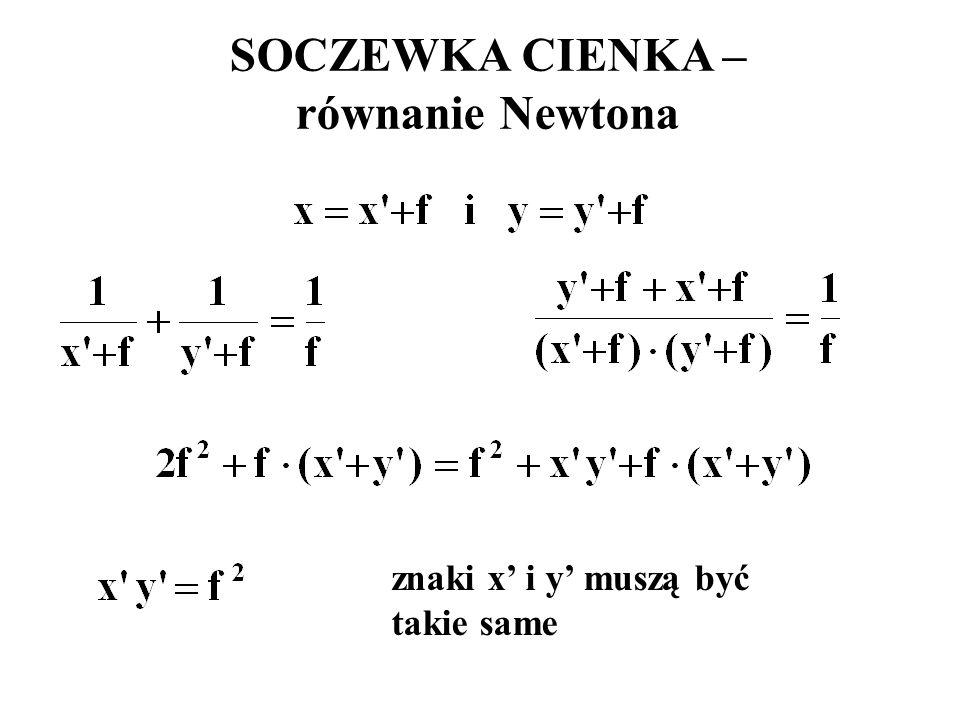 SOCZEWKA CIENKA – równanie Newtona znaki x' i y' muszą być takie same