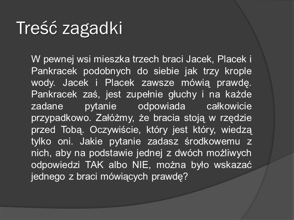 Treść zagadki W pewnej wsi mieszka trzech braci Jacek, Placek i Pankracek podobnych do siebie jak trzy krople wody. Jacek i Placek zawsze mówią prawdę