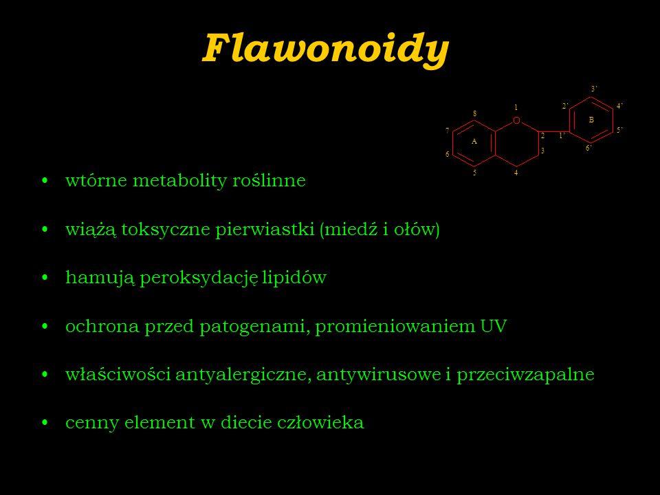 Flawonoidy wtórne metabolity roślinne wiążą toksyczne pierwiastki (miedź i ołów) hamują peroksydację lipidów ochrona przed patogenami, promieniowaniem