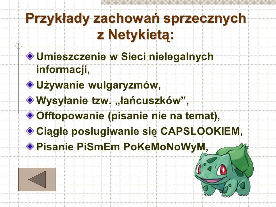 Strony www: Nie umieszczaj grafiki o zbyt dużej rozdzielczości, Nie zaśmiecaj kilku serwerów tą samą stroną, Nie umieszczaj u siebie odnośników do str