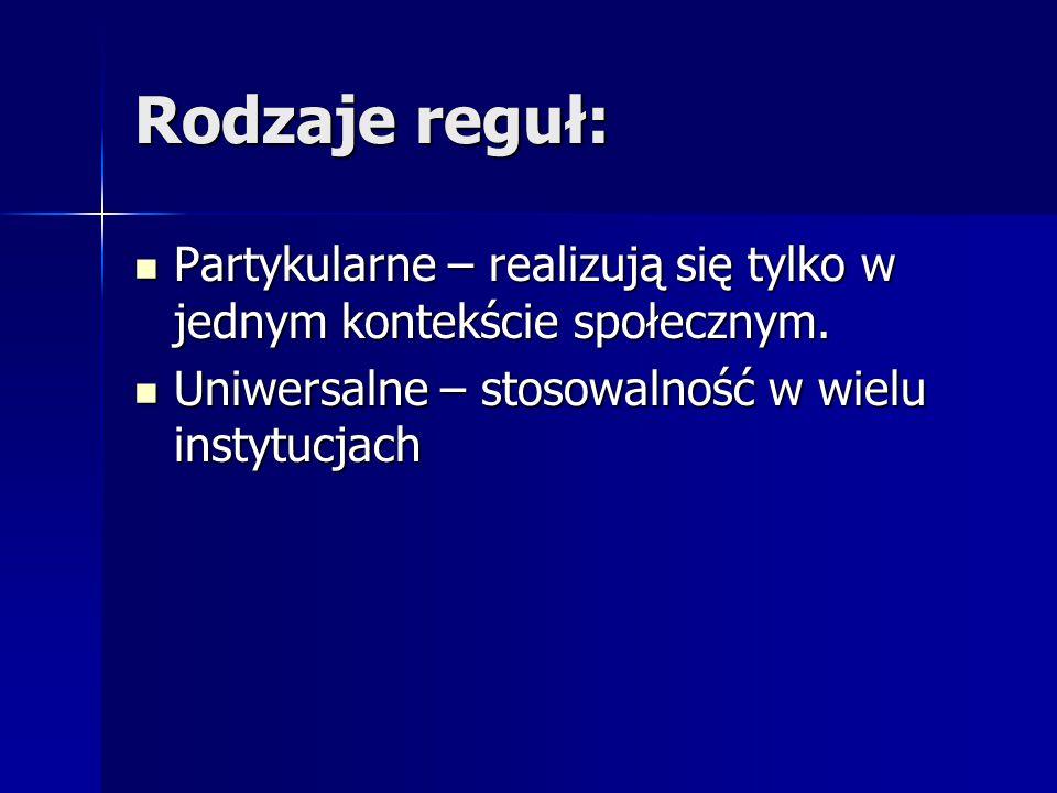 Rodzaje reguł: Partykularne – realizują się tylko w jednym kontekście społecznym. Partykularne – realizują się tylko w jednym kontekście społecznym. U