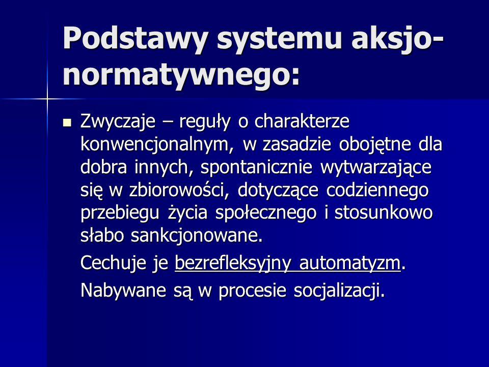 Podstawy systemu aksjo- normatywnego: Zwyczaje – reguły o charakterze konwencjonalnym, w zasadzie obojętne dla dobra innych, spontanicznie wytwarzając