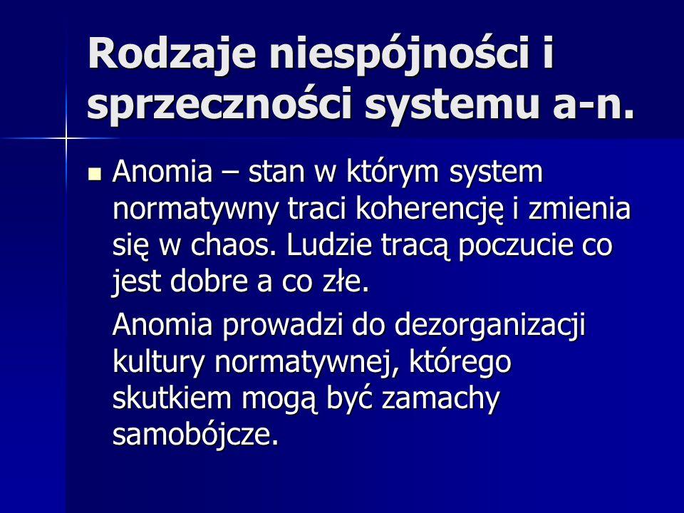 Rodzaje niespójności i sprzeczności systemu a-n. Anomia – stan w którym system normatywny traci koherencję i zmienia się w chaos. Ludzie tracą poczuci