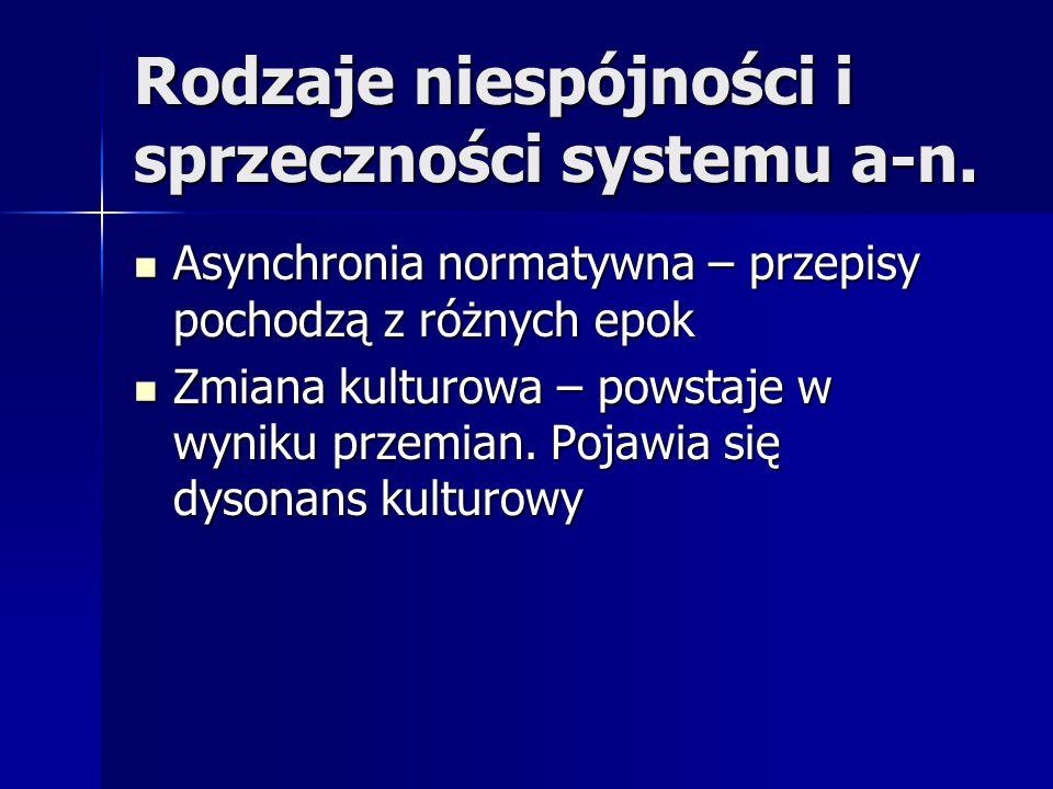 Rodzaje niespójności i sprzeczności systemu a-n. Asynchronia normatywna – przepisy pochodzą z różnych epok Asynchronia normatywna – przepisy pochodzą