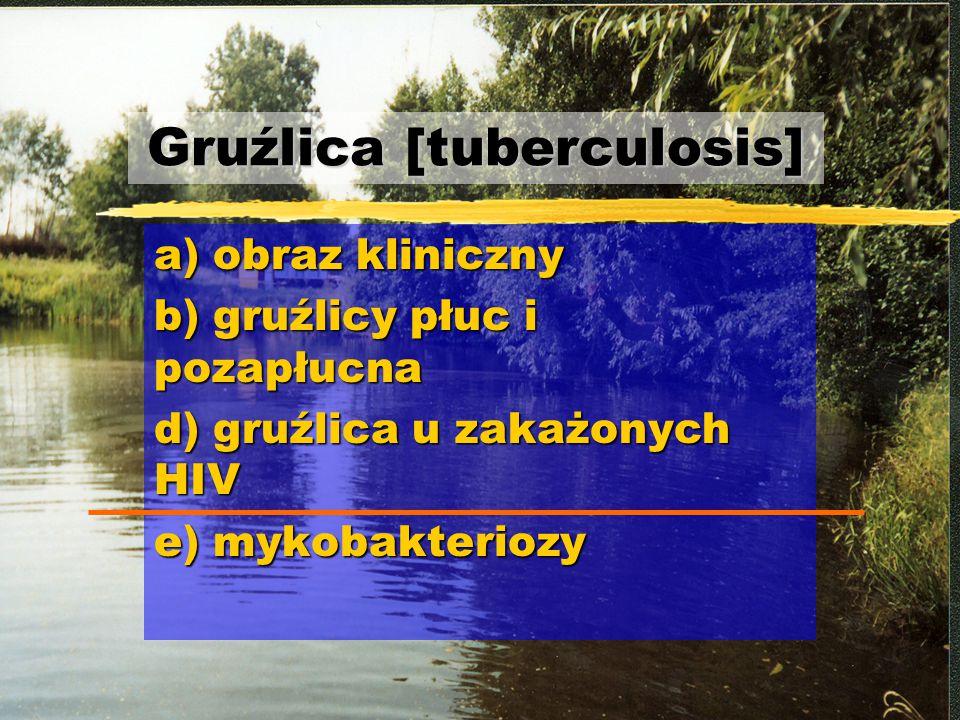 Gruźlica [tuberculosis] a) obraz kliniczny b) gruźlicy płuc i pozapłucna d) gruźlica u zakażonych HIV e) mykobakteriozy