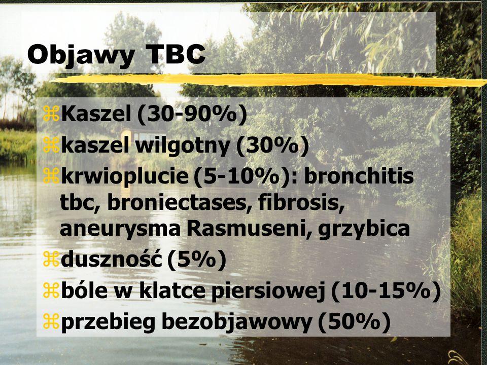 Objawy TBC zKaszel (30-90%) zkaszel wilgotny (30%) zkrwioplucie (5-10%): bronchitis tbc, broniectases, fibrosis, aneurysma Rasmuseni, grzybica zduszno