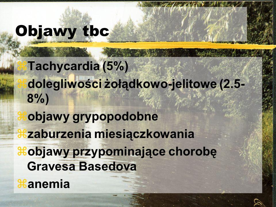 Objawy tbc zTachycardia (5%) zdolegliwości żołądkowo-jelitowe (2.5- 8%) zobjawy grypopodobne zzaburzenia miesiączkowania zobjawy przypominające chorob