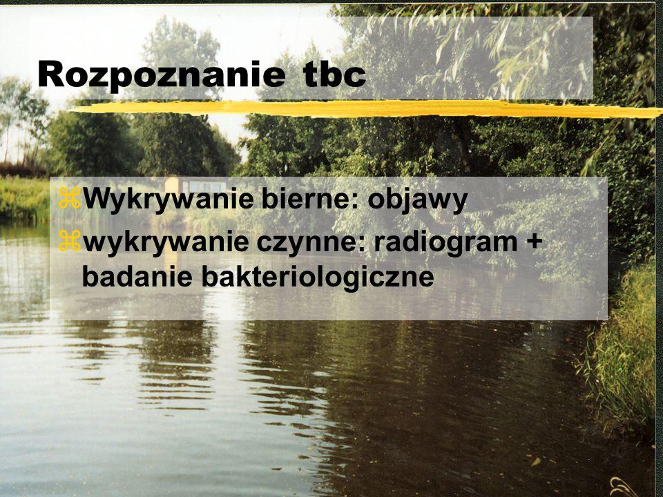 Rozpoznanie tbc zWykrywanie bierne: objawy zwykrywanie czynne: radiogram + badanie bakteriologiczne