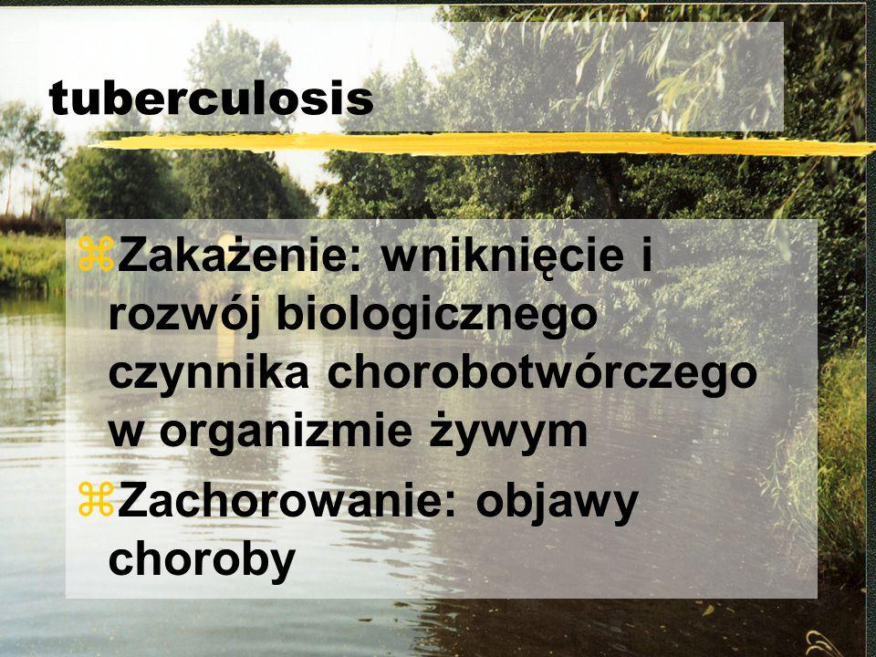Objawy TBC zKaszel (30-90%) zkaszel wilgotny (30%) zkrwioplucie (5-10%): bronchitis tbc, broniectases, fibrosis, aneurysma Rasmuseni, grzybica zduszność (5%) zbóle w klatce piersiowej (10-15%) zprzebieg bezobjawowy (50%)
