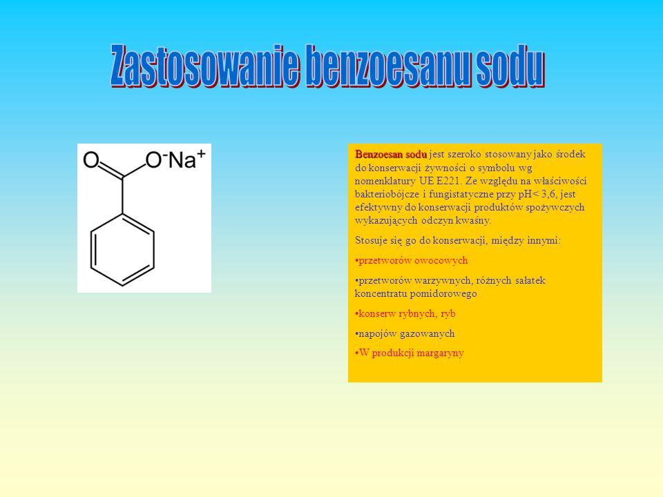 Związek Związek organiczny, sól sodowa kwasu benzoesowego o wzorze C 6 H 5 COONa. W warunkach standardowych jest to białe, krystaliczne ciało stałe. D