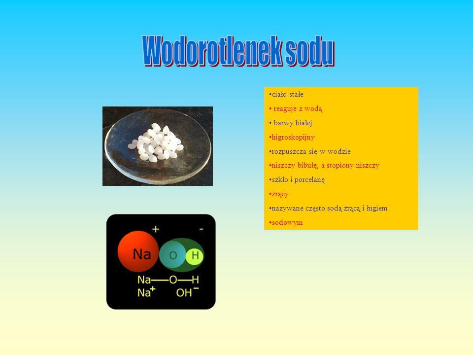 ciało stałe reaguje z wodą barwy białej higroskopijny rozpuszcza się w wodzie niszczy bibułę, a stopiony niszczy szkło i porcelanę żrący nazywane często sodą żrącą i ługiem sodowym