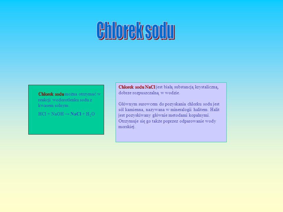 Chlorek sodu NaCl Chlorek sodu NaCl jest białą substancją krystaliczną, dobrze rozpuszczalną w wodzie.