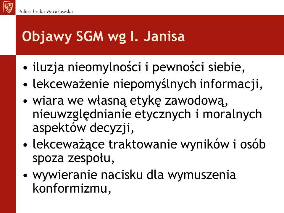 Objawy SGM wg I. Janisa iluzja nieomylności i pewności siebie, lekceważenie niepomyślnych informacji, wiara we własną etykę zawodową, nieuwzględnianie