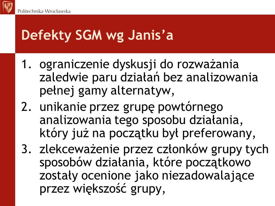 Defekty SGM wg Janis'a 1.ograniczenie dyskusji do rozważania zaledwie paru działań bez analizowania pełnej gamy alternatyw, 2.unikanie przez grupę powtórnego analizowania tego sposobu działania, który już na początku był preferowany, 3.zlekceważenie przez członków grupy tych sposobów działania, które początkowo zostały ocenione jako niezadowalające przez większość grupy,