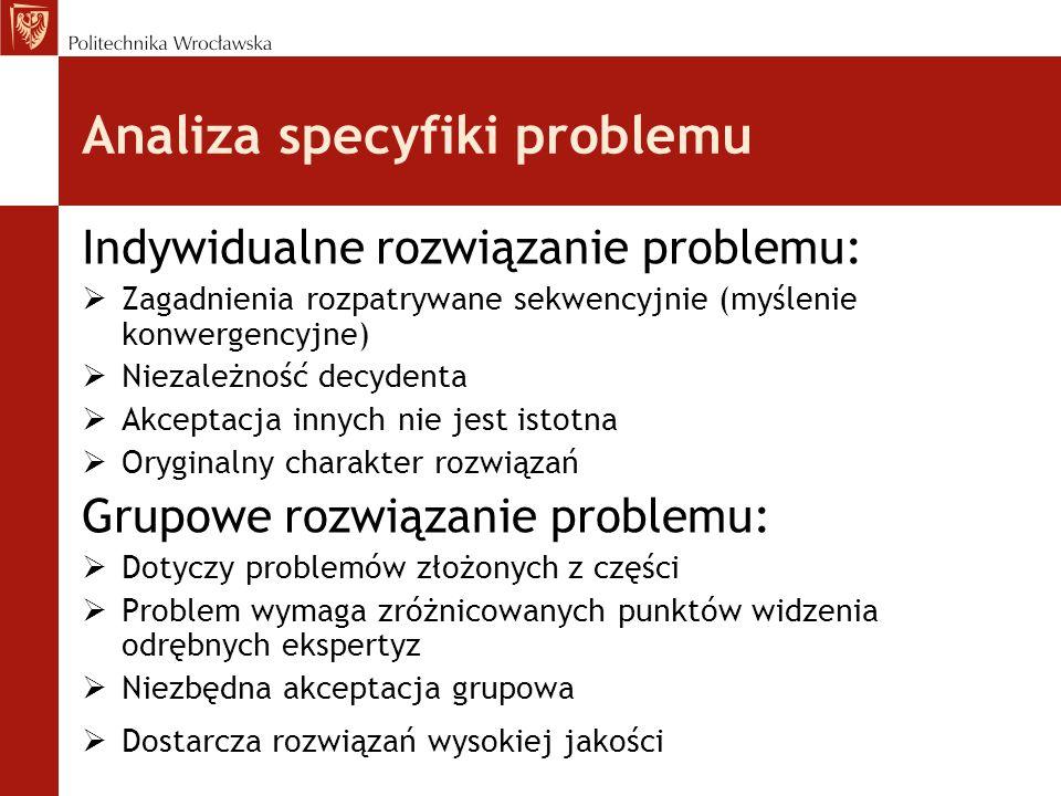 Analiza specyfiki problemu Indywidualne rozwiązanie problemu:  Zagadnienia rozpatrywane sekwencyjnie (myślenie konwergencyjne)  Niezależność decydenta  Akceptacja innych nie jest istotna  Oryginalny charakter rozwiązań Grupowe rozwiązanie problemu:  Dotyczy problemów złożonych z części  Problem wymaga zróżnicowanych punktów widzenia odrębnych ekspertyz  Niezbędna akceptacja grupowa  Dostarcza rozwiązań wysokiej jakości