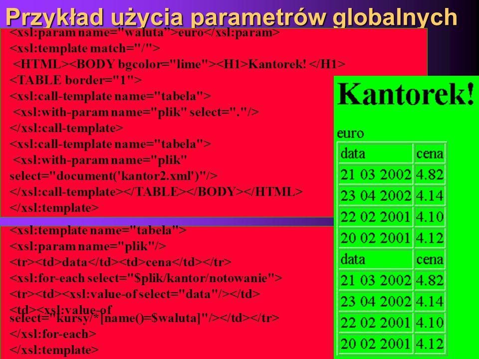2015-06-03 METAJĘZYKI 15 Przykład użycia parametrów globalnych euro Kantorek! <xsl:with-param name=