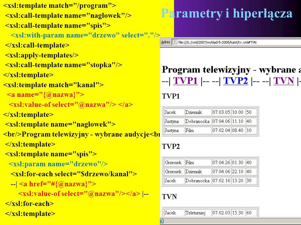 2015-06-03 METAJĘZYKI 18 Program telewizyjny - wybrane audycje --| |-- Parametry i hiperłącza