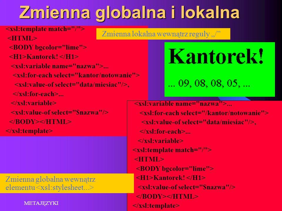 """2015-06-03 METAJĘZYKI 7 Zmienna globalna i lokalna Kantorek!...,......,... Kantorek! Zmienna lokalna wewnątrz reguły """"/"""" Zmienna globalna wewnątrz ele"""