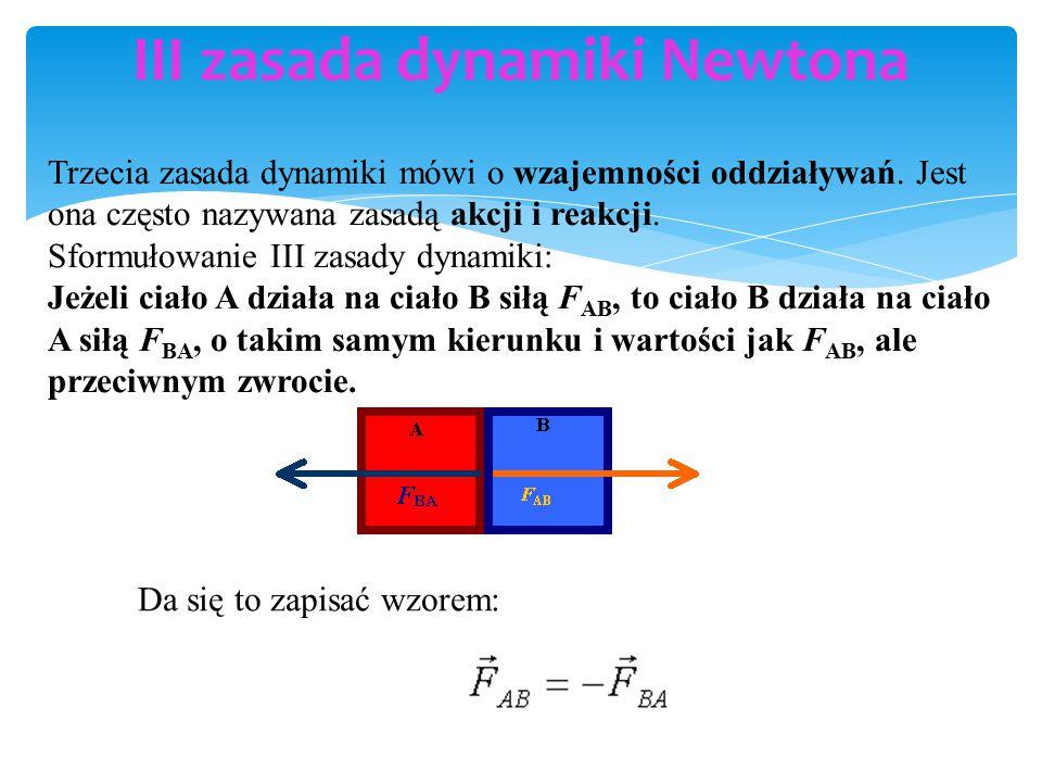 III zasada dynamiki Newtona Trzecia zasada dynamiki mówi o wzajemności oddziaływań.