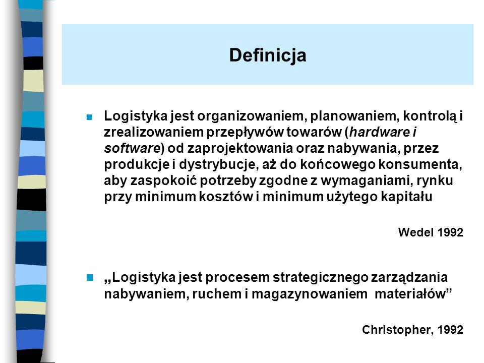 n Logistyka jest organizowaniem, planowaniem, kontrolą i zrealizowaniem przepływów towarów (hardware i software) od zaprojektowania oraz nabywania, pr