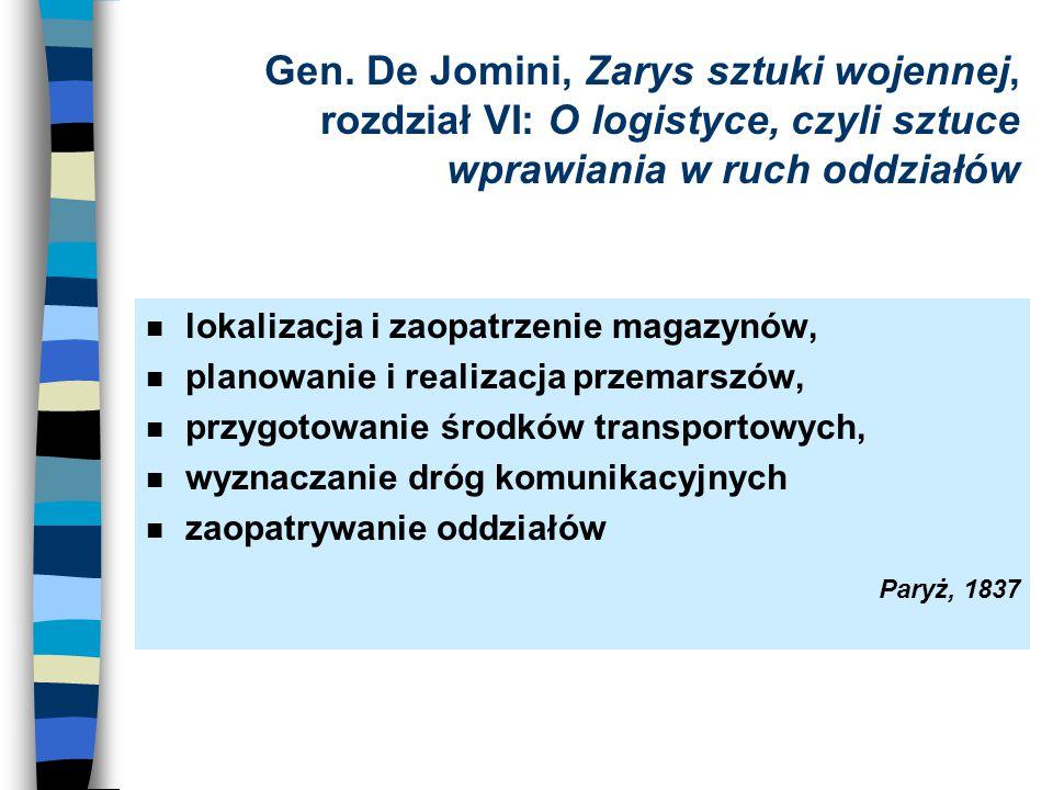 Gen. De Jomini, Zarys sztuki wojennej, rozdział VI: O logistyce, czyli sztuce wprawiania w ruch oddziałów n lokalizacja i zaopatrzenie magazynów, n pl