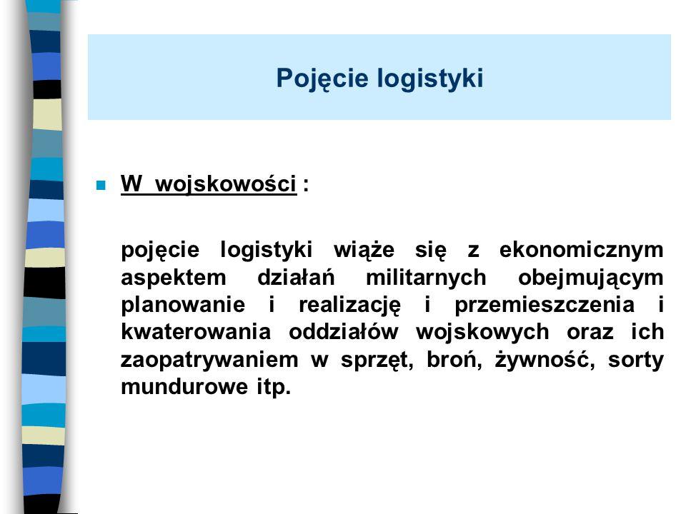 Pojęcie logistyki n W wojskowości : pojęcie logistyki wiąże się z ekonomicznym aspektem działań militarnych obejmującym planowanie i realizację i prze