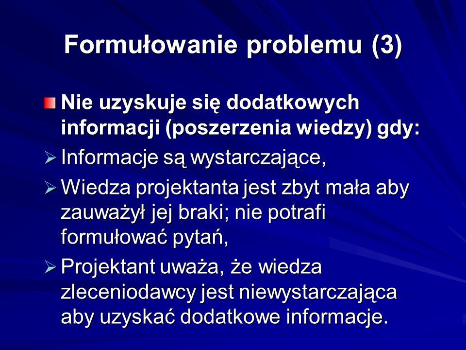 Formułowanie problemu (3) Nie uzyskuje się dodatkowych informacji (poszerzenia wiedzy) gdy:  Informacje są wystarczające,  Wiedza projektanta jest zbyt mała aby zauważył jej braki; nie potrafi formułować pytań,  Projektant uważa, że wiedza zleceniodawcy jest niewystarczająca aby uzyskać dodatkowe informacje.