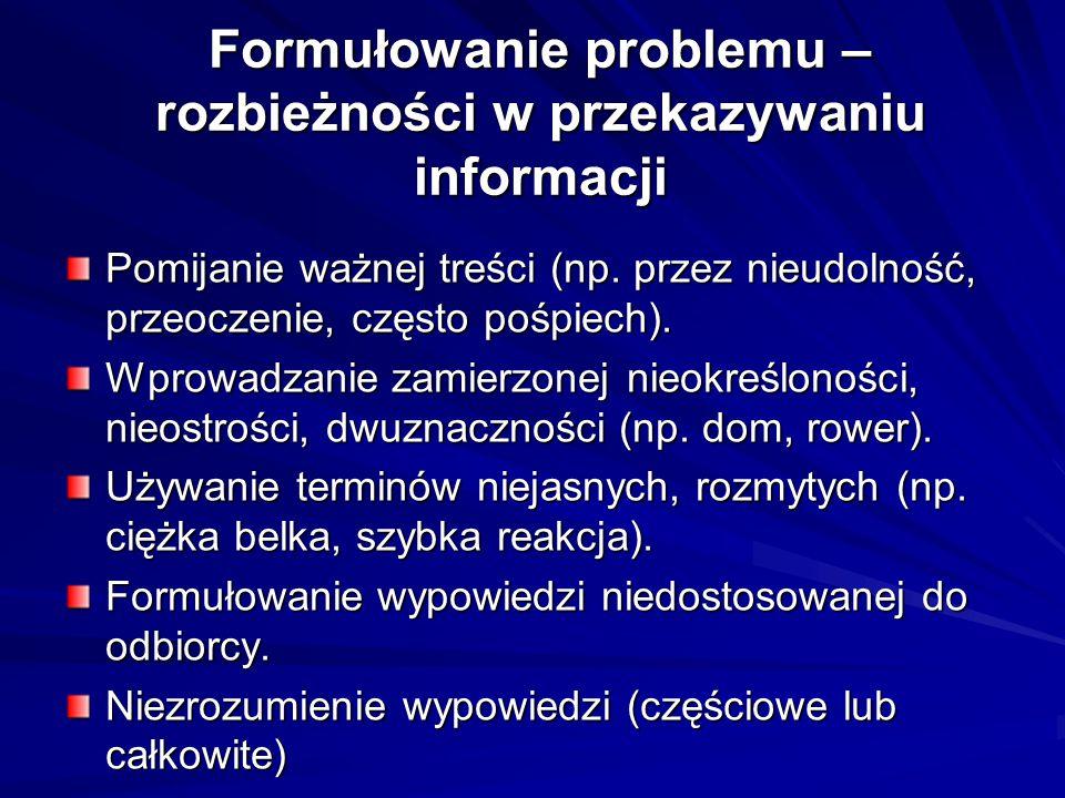 Formułowanie problemu – rozbieżności w przekazywaniu informacji Pomijanie ważnej treści (np.