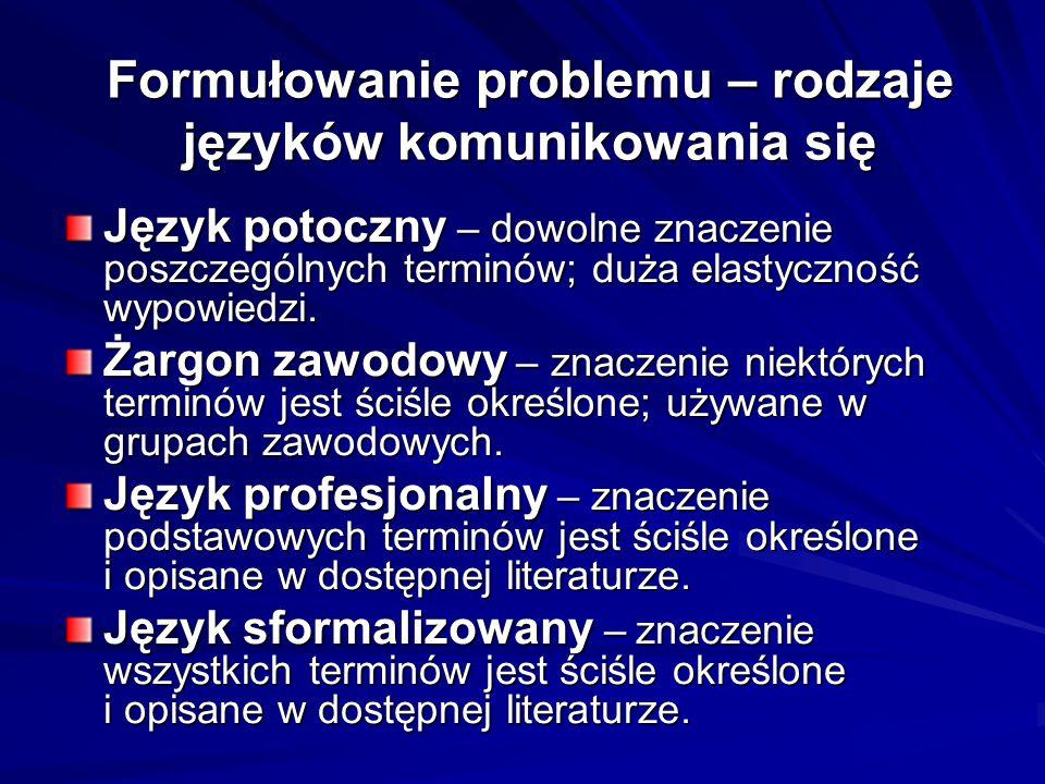 Formułowanie problemu – rodzaje języków komunikowania się Język potoczny – dowolne znaczenie poszczególnych terminów; duża elastyczność wypowiedzi.