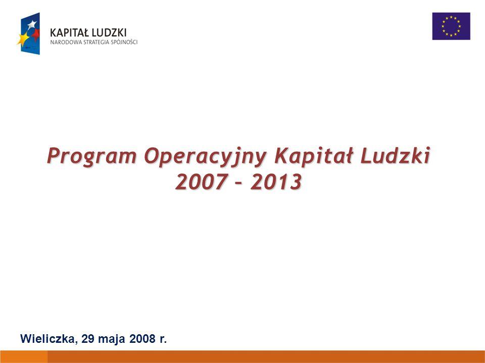 Program Operacyjny Kapitał Ludzki 2007 – 2013 Wieliczka, 29 maja 2008 r.