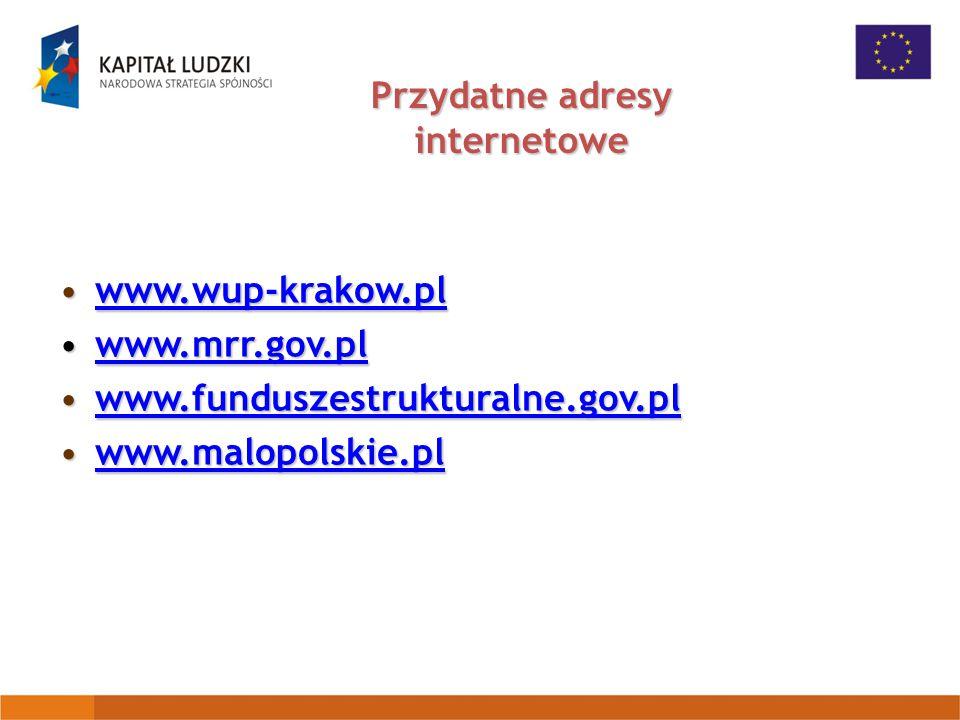 Przydatne adresy internetowe www.wup-krakow.plwww.wup-krakow.plwww.wup-krakow.pl www.mrr.gov.plwww.mrr.gov.plwww.mrr.gov.pl www.funduszestrukturalne.gov.plwww.funduszestrukturalne.gov.plwww.funduszestrukturalne.gov.pl www.malopolskie.plwww.malopolskie.plwww.malopolskie.pl