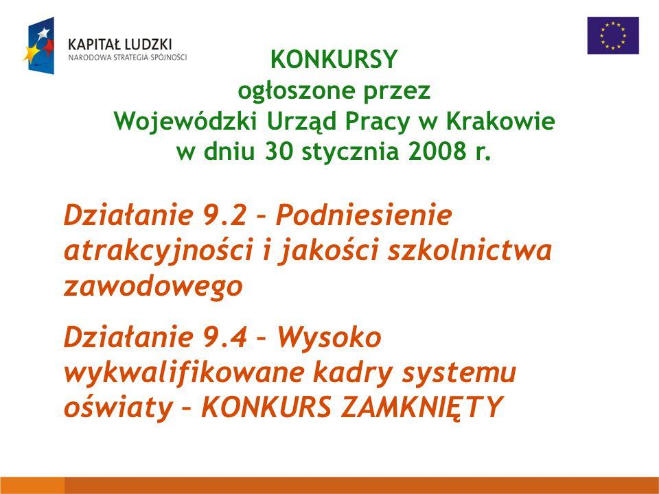 KONKURSY ogłoszone przez Wojewódzki Urząd Pracy w Krakowie w dniu 30 stycznia 2008 r.