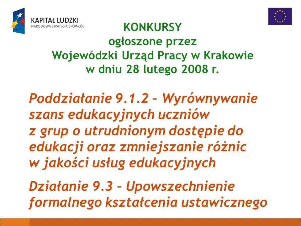 KONKURSY ogłoszone przez Wojewódzki Urząd Pracy w Krakowie w dniu 28 lutego 2008 r.