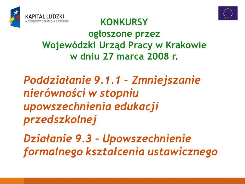 KONKURSY ogłoszone przez Wojewódzki Urząd Pracy w Krakowie w dniu 27 marca 2008 r.