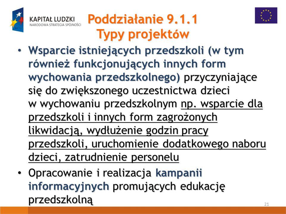 21 Poddziałanie 9.1.1 Typy projekt ó w Wsparcie istniejących przedszkoli (w tym również funkcjonujących innych form wychowania przedszkolnego) przyczyniające się do zwiększonego uczestnictwa dzieci w wychowaniu przedszkolnym np.