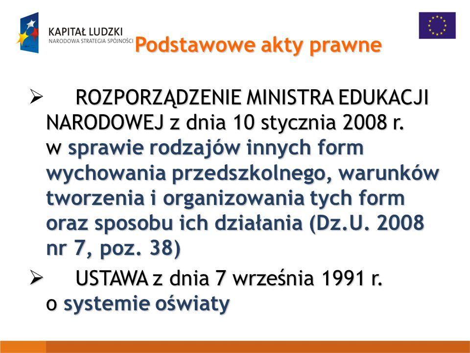 Podstawowe akty prawne ROZPORZĄDZENIE MINISTRA EDUKACJI NARODOWEJ z dnia 10 stycznia 2008 r.