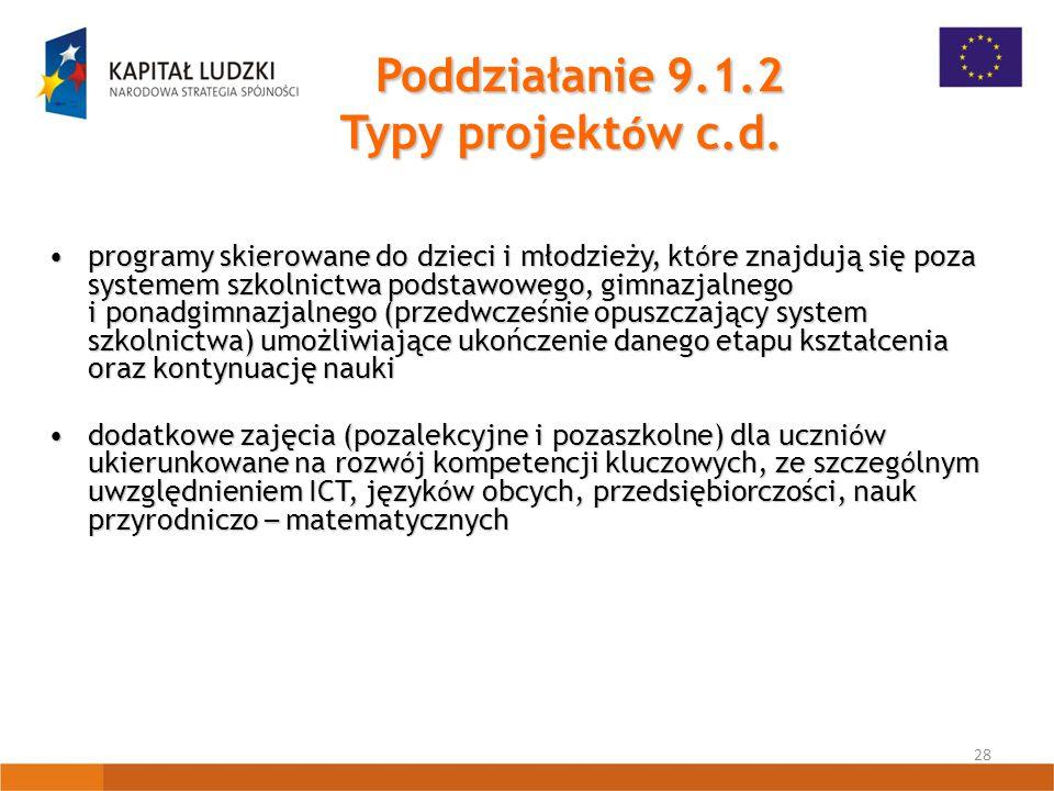 28 Poddziałanie 9.1.2 Typy projekt ó w c.d.