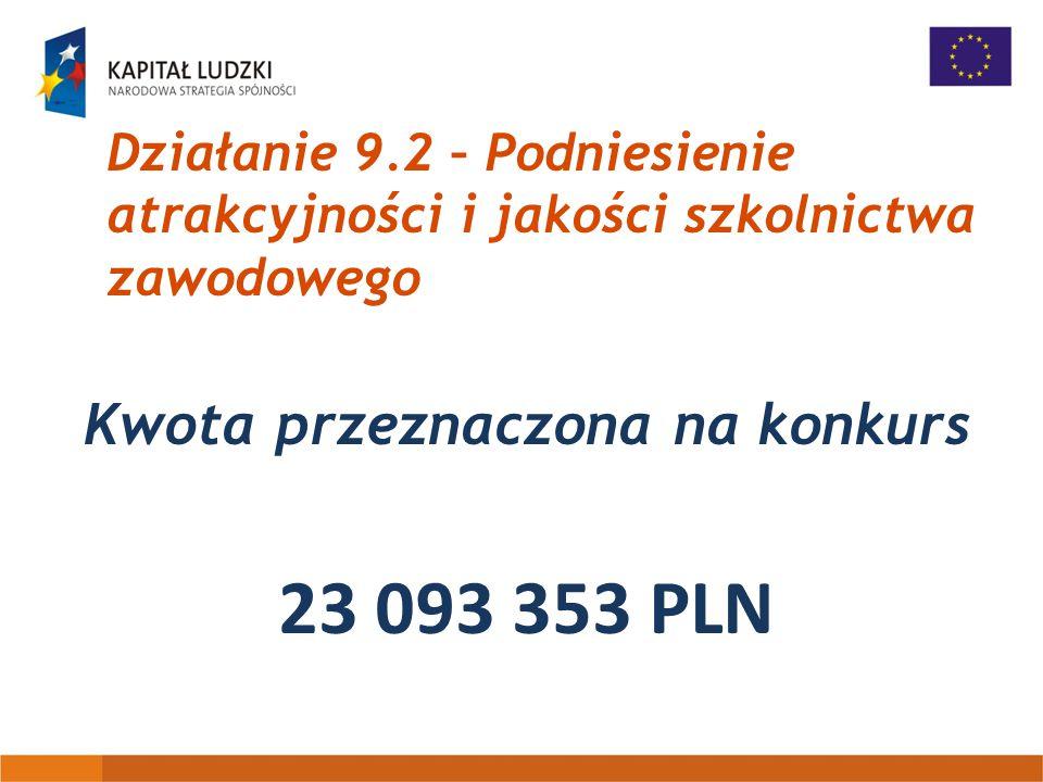 Działanie 9.2 – Podniesienie atrakcyjności i jakości szkolnictwa zawodowego Kwota przeznaczona na konkurs 23 093 353 PLN