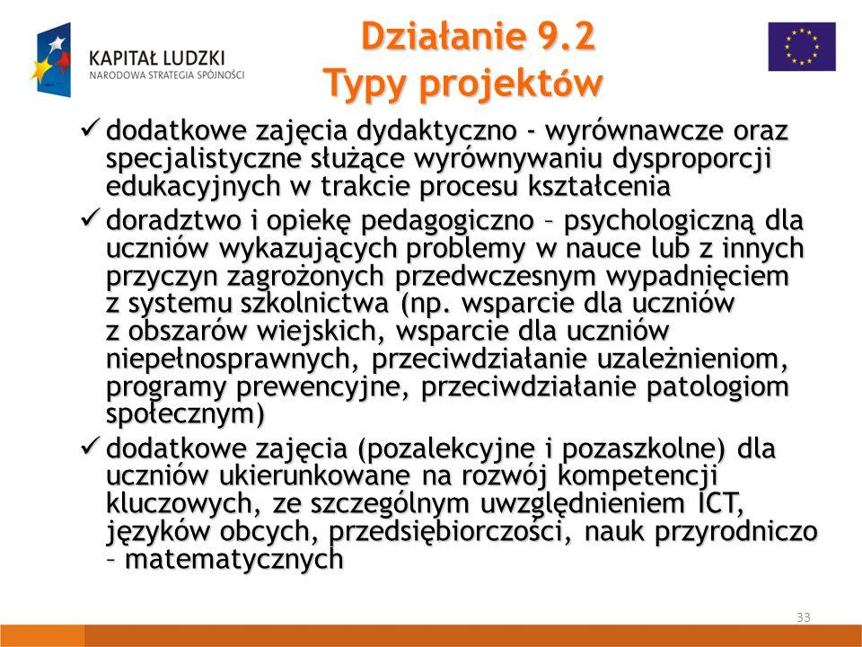 33 Działanie 9.2 Typy projekt ó w dodatkowe zajęcia dydaktyczno - wyrównawcze oraz specjalistyczne służące wyrównywaniu dysproporcji edukacyjnych w trakcie procesu kształcenia dodatkowe zajęcia dydaktyczno - wyrównawcze oraz specjalistyczne służące wyrównywaniu dysproporcji edukacyjnych w trakcie procesu kształcenia doradztwo i opiekę pedagogiczno – psychologiczną dla uczniów wykazujących problemy w nauce lub z innych przyczyn zagrożonych przedwczesnym wypadnięciem z systemu szkolnictwa (np.