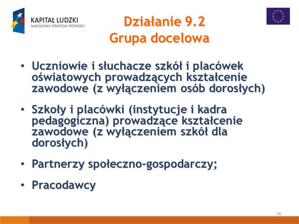 36 Działanie 9.2 Grupa docelowa Uczniowie i słuchacze szkół i placówek oświatowych prowadzących kształcenie zawodowe (z wyłączeniem osób dorosłych) Uczniowie i słuchacze szkół i placówek oświatowych prowadzących kształcenie zawodowe (z wyłączeniem osób dorosłych) Szkoły i placówki (instytucje i kadra pedagogiczna) prowadzące kształcenie zawodowe (z wyłączeniem szkół dla dorosłych) Szkoły i placówki (instytucje i kadra pedagogiczna) prowadzące kształcenie zawodowe (z wyłączeniem szkół dla dorosłych) Partnerzy społeczno-gospodarczy; Partnerzy społeczno-gospodarczy; Pracodawcy Pracodawcy