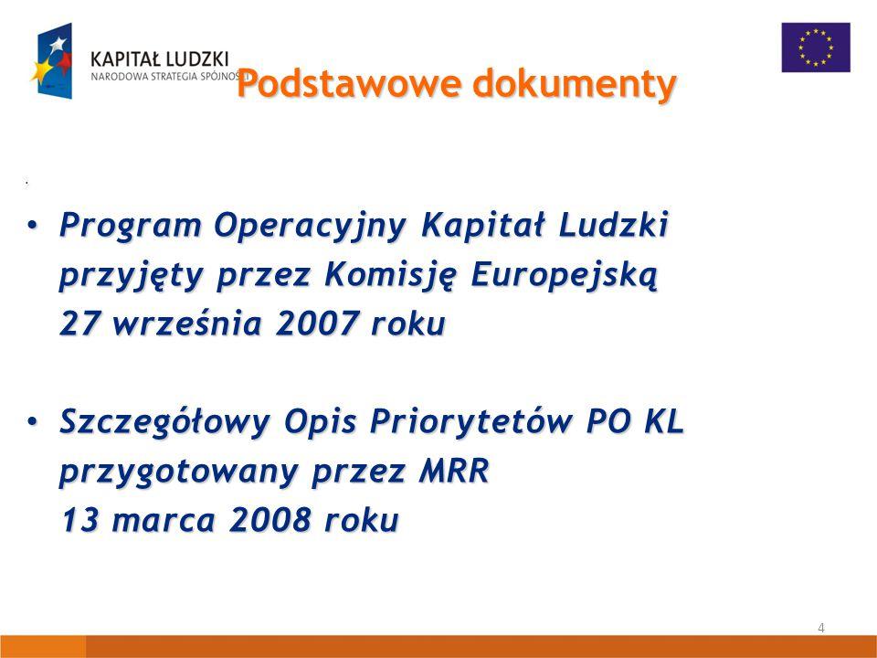 4 Podstawowe dokumenty Program Operacyjny Kapitał Ludzki Program Operacyjny Kapitał Ludzki przyjęty przez Komisję Europejską 27 września 2007 roku Szczegółowy Opis Priorytetów PO KL Szczegółowy Opis Priorytetów PO KL przygotowany przez MRR 13 marca 2008 roku