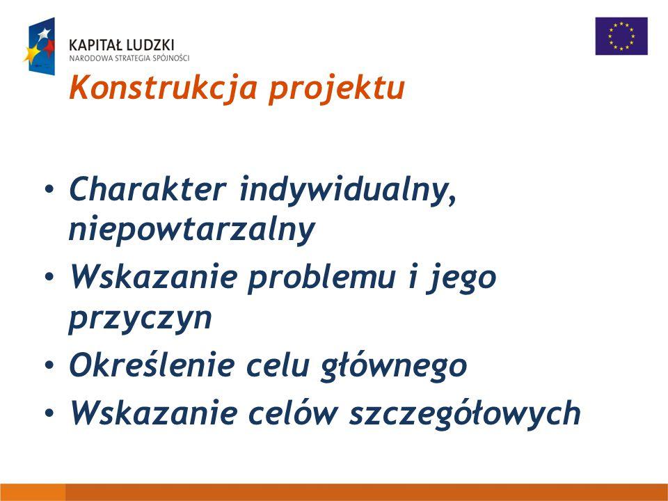 Konstrukcja projektu Charakter indywidualny, niepowtarzalny Wskazanie problemu i jego przyczyn Określenie celu głównego Wskazanie celów szczegółowych