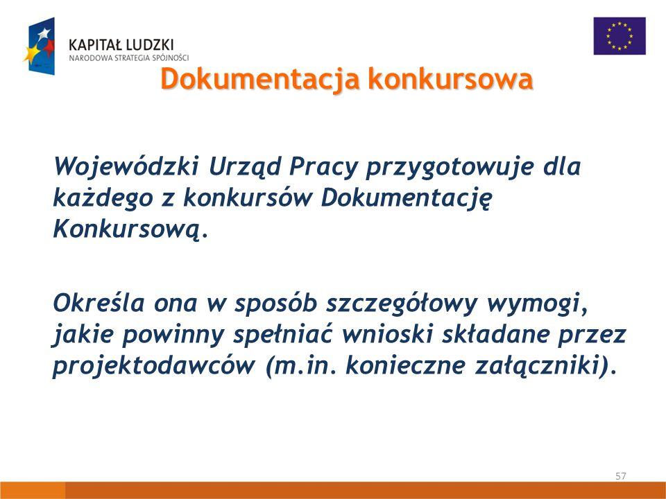 57 Dokumentacja konkursowa Wojewódzki Urząd Pracy przygotowuje dla każdego z konkursów Dokumentację Konkursową.